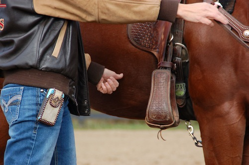 Begin teaching horse how to respond to thumb before using spur.