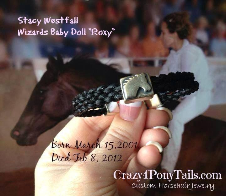 Stacy's gift, Roxy's tail hair made into a bracelet.