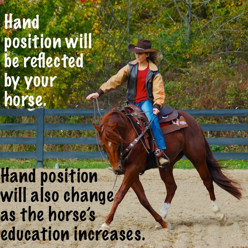 Hand position will be reflected by your horse.