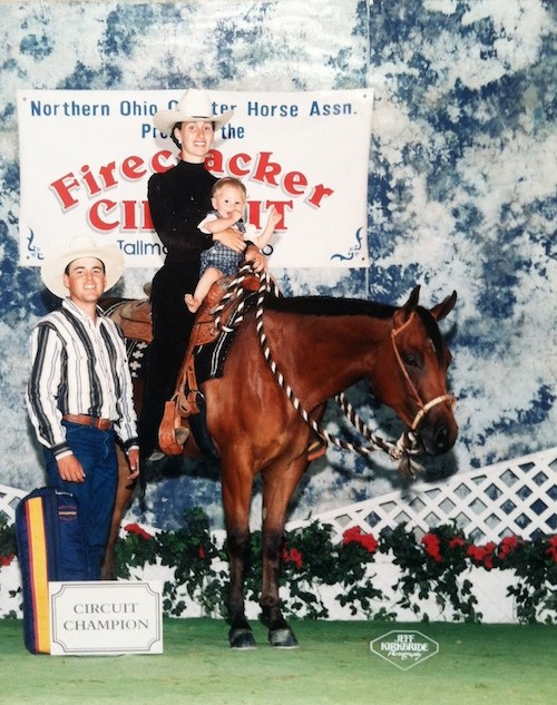Stacy Westfall showing in western pleasure early in horse training career.