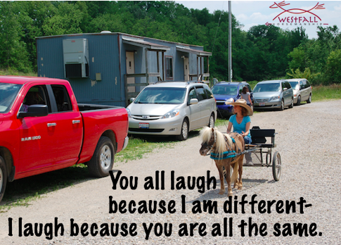 You all laugh because I am different. I laugh because you are all the same.