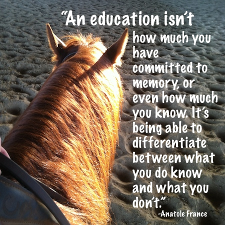 """An education isn't how much you have committed to memory, or even how much you know. It's being able to differentiate between what you do know and what you don't."" -Anatole France"