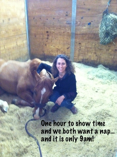 Stacy Westfall and her horse Newt in stall