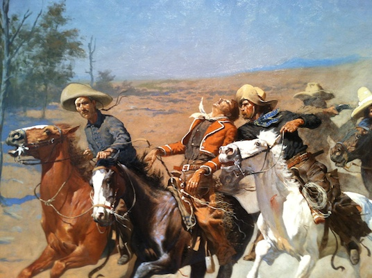 Close up of Frederic Remington, A Dash for the Timber, painted in 1889