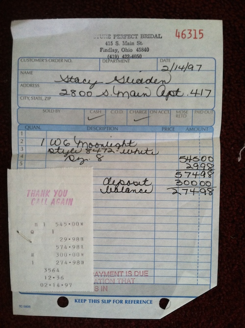 A receipt for Stacy Westfall's wedding gown showing that she paid $274.98...she later won over $17,000 in it showing Roxy.