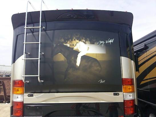 Stacy Westfall's Fleetwood motor home with Roxy photo on it