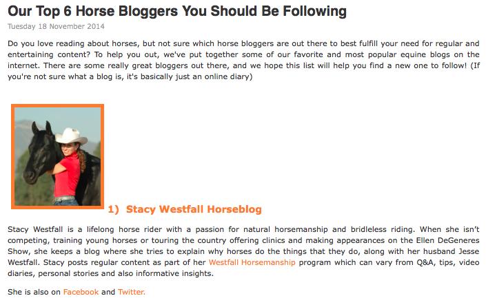 Stacy Westfall #1 Horse Blogger?