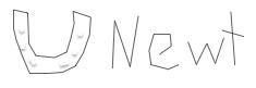 Newt, the horse, signature