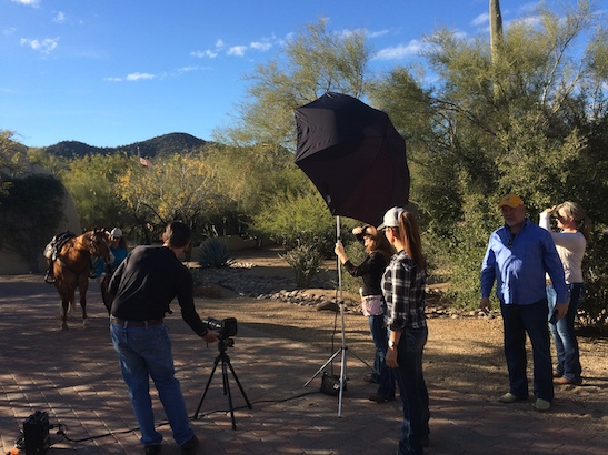 Photo shoot for Western Shooting Horse & Gun with Stacy Westfall