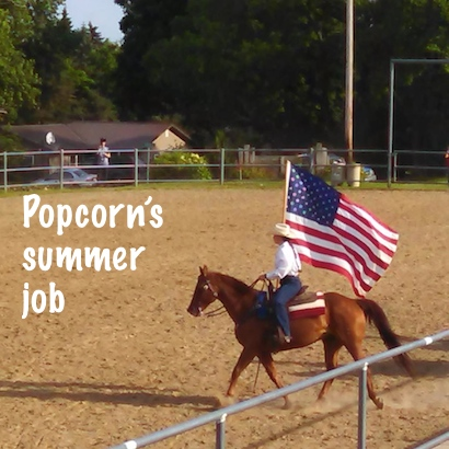 Popcorn is on the drill team this summer.