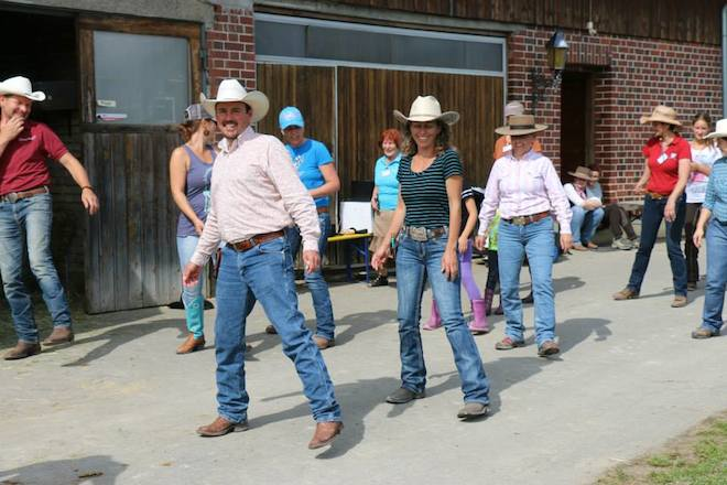 Line dancing while in Germany...instructions in German, I was laughing the whole time!