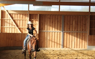 Visiting…and riding…Roxy's foal: Roxter
